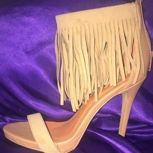 Suede camel heels